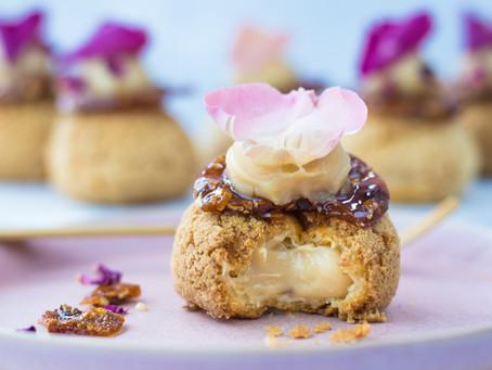 Cobnut Caramel and Rose Choux buns