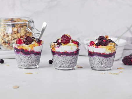 Berry, Honey and Almond Chia pots