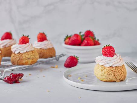 Strawberry and Elderflower Choux Buns
