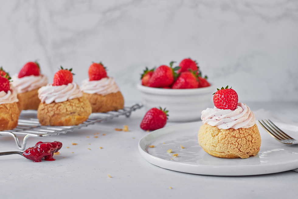 Strawberry and Elderflower Choux Buns -