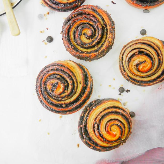 Chocolate Orange and Hazelnut Babka Buns