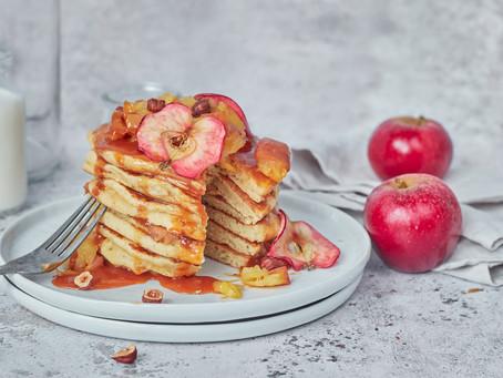 Caramel Apple and Cobnut Buttermilk Pancakes