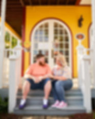 A engagement portrait session of Olivia and Daniel at The Widows Walk Ice Creamery and Bicycle Rentals in Clarksville, Indiana