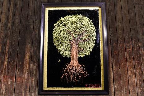 flying tree - encre grattée sur verre 21x29,7