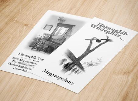 Fekete-fehér cégkártya - Harangláb Vendégház