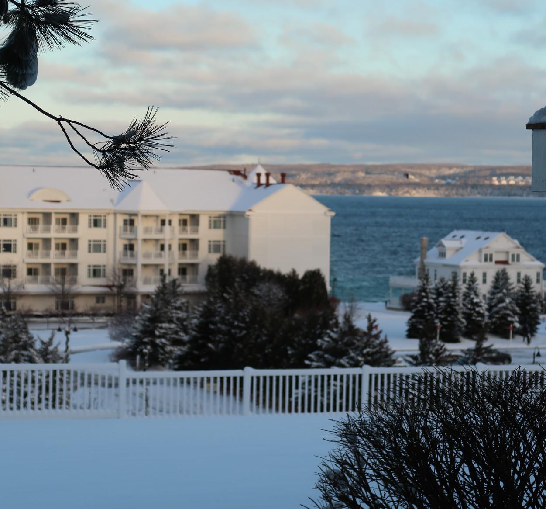 A snowy days view at The Inn at Bay Harbor
