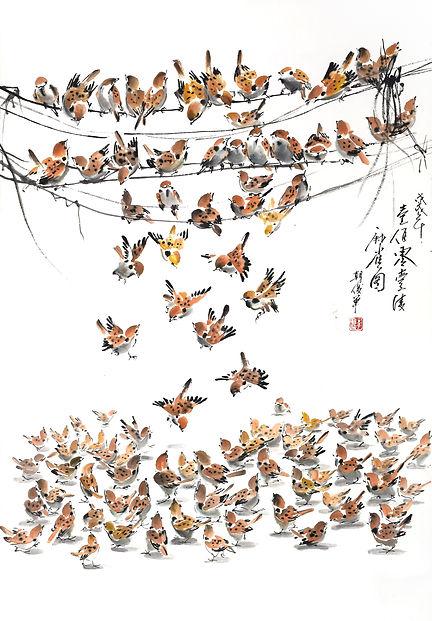 一百零一只麻雀,2018 - 86 cm x 60 cm.jpg