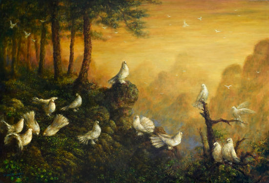 和平相处,2013 - 91 cm x 132 cm, Oil on canva