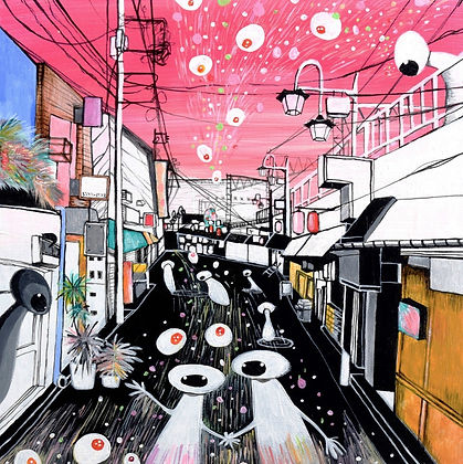 WILD CACTUS SPIRITS VISITING ONE OF JAPAN'S STREETS (2018) by Risa Wada