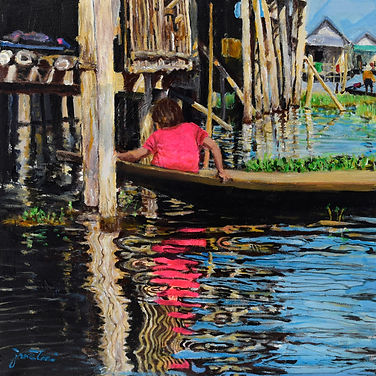 Life on lake, 40cm x 40cm, acrylic on ca