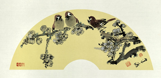 PLUM BLOSSOMS & SPARROWS (2020)  by Yap Hong Ngee