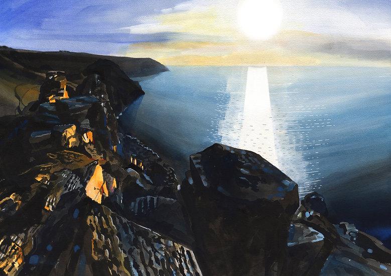 Valley of Rocks, Devon,  Original Watercolour Painting