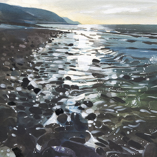 Bossington Beach, Exmoor Original Watercolour Painting