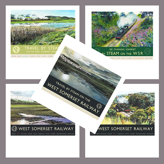 Greetings Card Pack G. West Somerset Railway. Steam Trains.