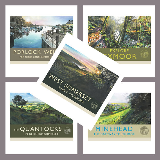 Greetings Card Pack D. Exmoor + West Somerset