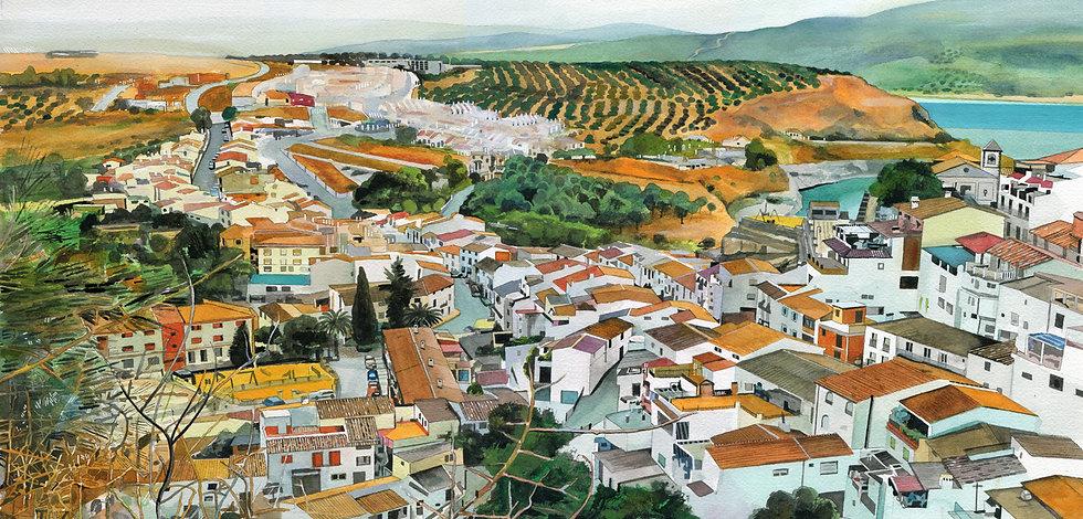 Iznajar, Spain, Original Watercolour Painting