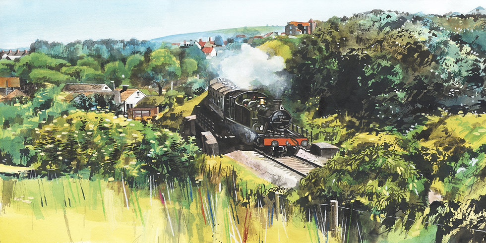 Travel By Steam - Watchet, WSR, Original Watercolour Painting