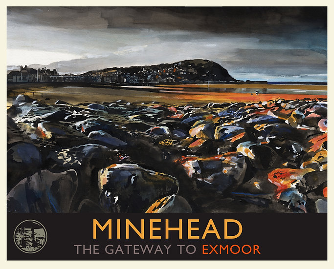 Minehead, The Gateway to Exmoor Print (with text), Somerset Travel Poster