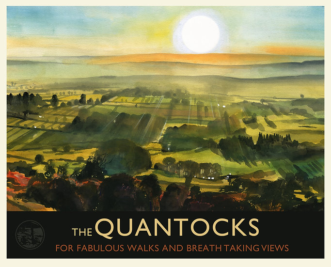 The Quantocks Print (with text), Somerset Travel Poster