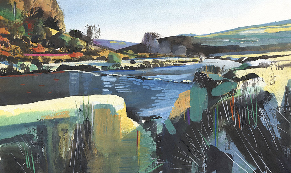 The Barle at Landacre, Exmoor Original Watercolour Painting