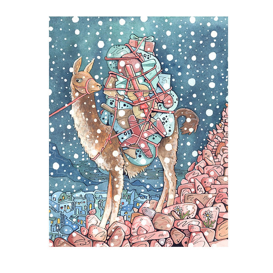 Christmas Card Design 7 of 10, An Alpaca Sent Packing with Packages