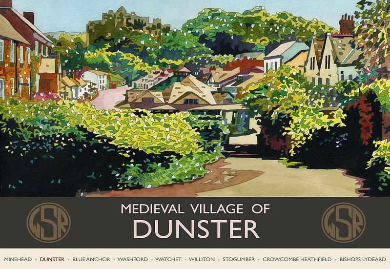 Dunster Village (WSR) Somerset Print