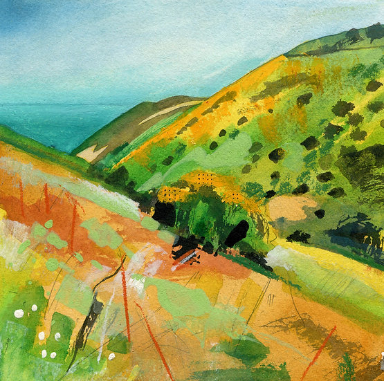 Rugged Coast Path 3, Exmoor, Original Watercolour Painting