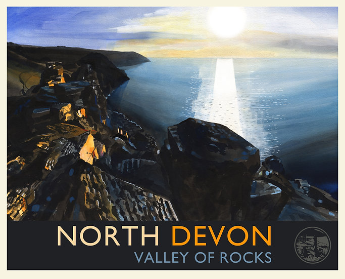 Valley of Rocks Print (with text), North Devon Travel Poster