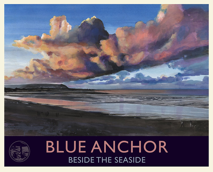 Blue Anchor, Beside the Seaside Print (with text), Somerset Travel Poster