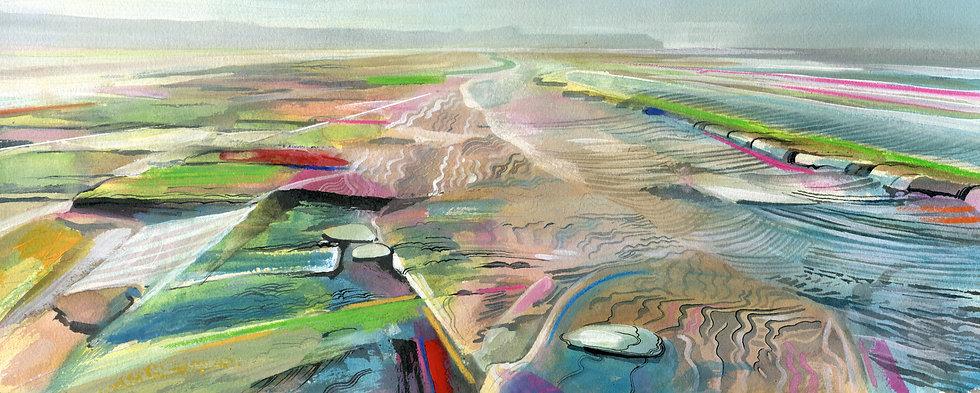 Doniford Beach, Somerset, Original Watercolour Painting