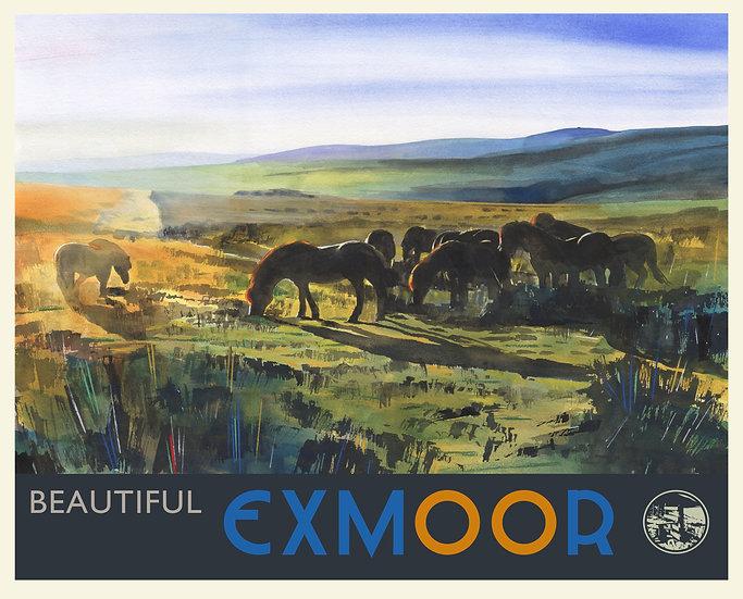 Beautiful Exmoor Print (with text), Exmoor Travel Poster