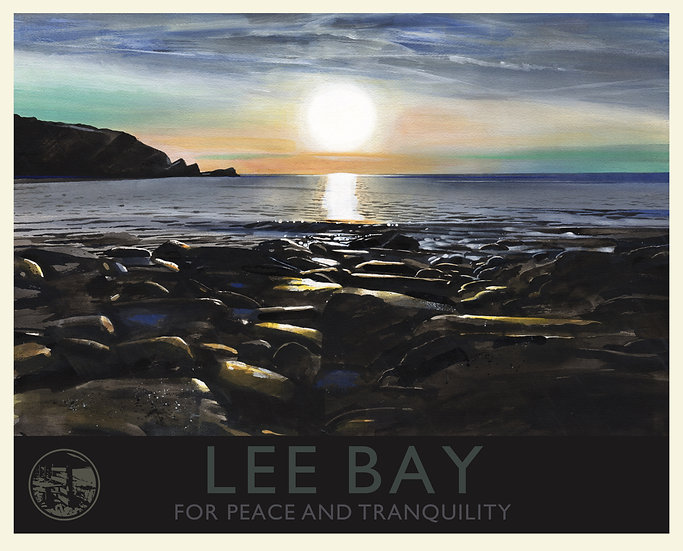 Lee Bay Print (with text), Devon Travel Poster