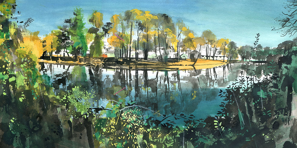 Lake at Dunster Beach, Somerset Print