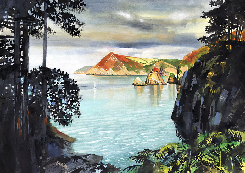Combe Martin, Devon,  Original Watercolour Painting