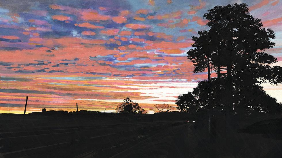 Sun Rise, A39, Exmoor Original Watercolour Painting
