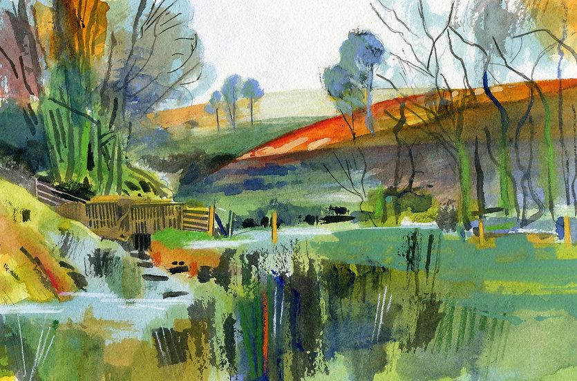 Chetsford Water, Autumn, Exmoor, Original Watercolour Painting