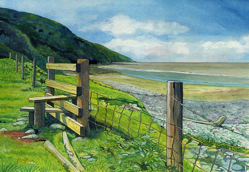 Greenaleigh Beach, Somerset Print