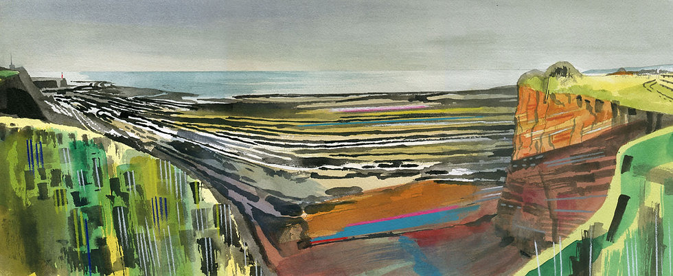 Helwell Bay, Nr Watchet, Somerset Original Watercolour Painting