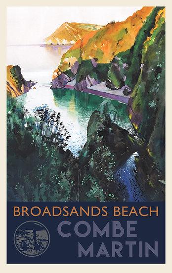 Broadsands Beach 2  Print (with text), Combe Martin, Devon Travel Poster