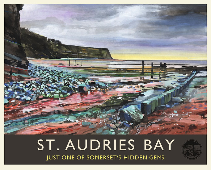 St. Audries Bay Print (with text), Somerset Travel Poster