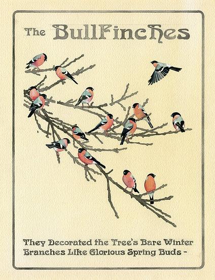 The Bullfinches, Original Watercolour Bird Painting