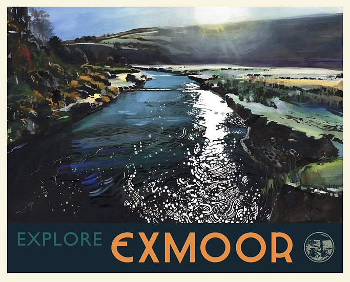 River Barle Print (with text), Exmoor Travel Poster