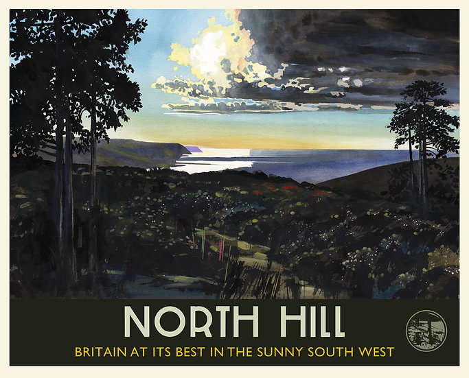 North Hill Print (with text), Somerset Travel Poster