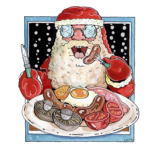 Christmas Card Design 2 of 10, Full English Christmas Breakfast
