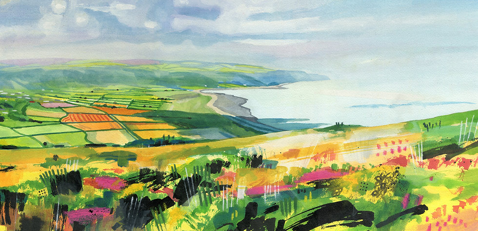 Porlock Bay from the End of North Hill 2, Original Watercolour Painting