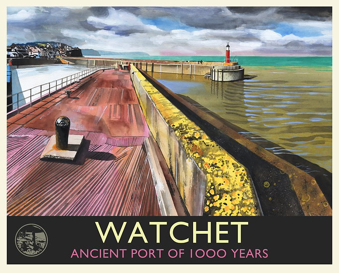 Watchet Print (with text), Somerset Travel Poster