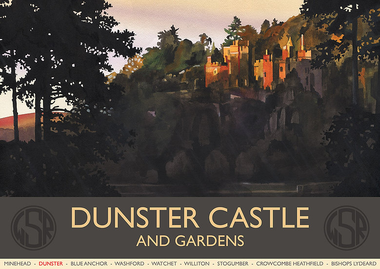 Dunster Castle and Gardens (2 of 12 from NEW WSR Collection) Exmoor Print