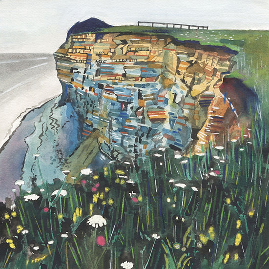 Cliffs at Kilve Beach 2, Somerset,  Original Watercolour Painting