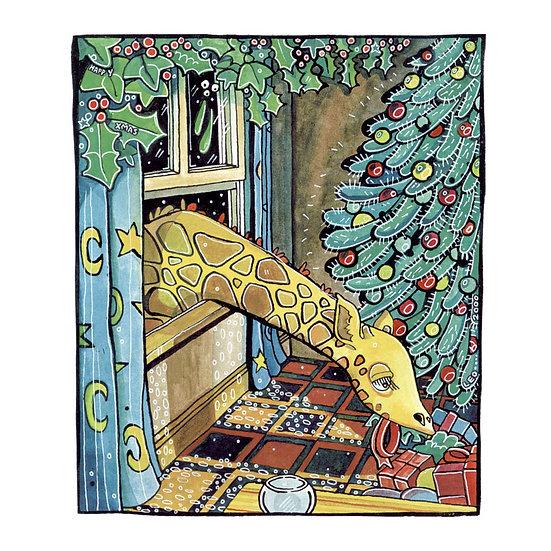 Christmas Card Design 6 of 10, Opportunistic Giraffe