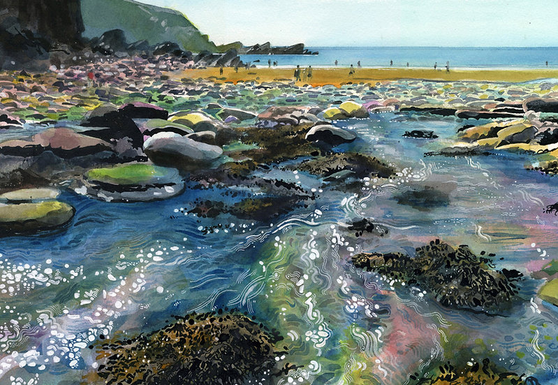 Lee Bay, Tide Out, Exmoor Print